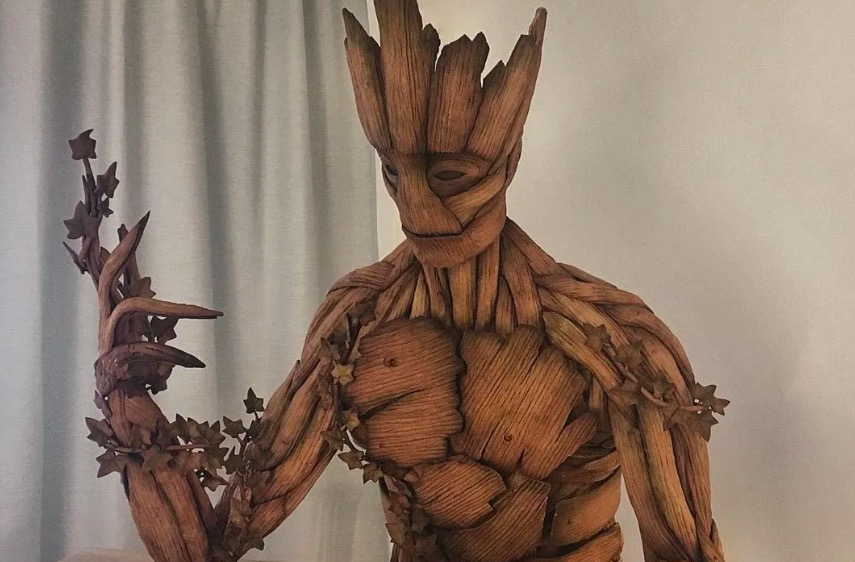 Someone Made A Life-Sized Groot Entirely Out Of Gingerbread