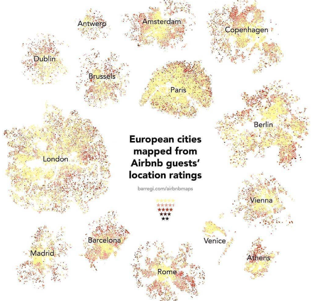 European Cities, Mapped By Airbnb Guest Ratings