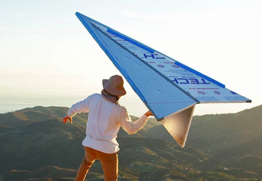 YouTuber Builds A Giant 'Paper' Airplane And Hurls It Off A Cliff