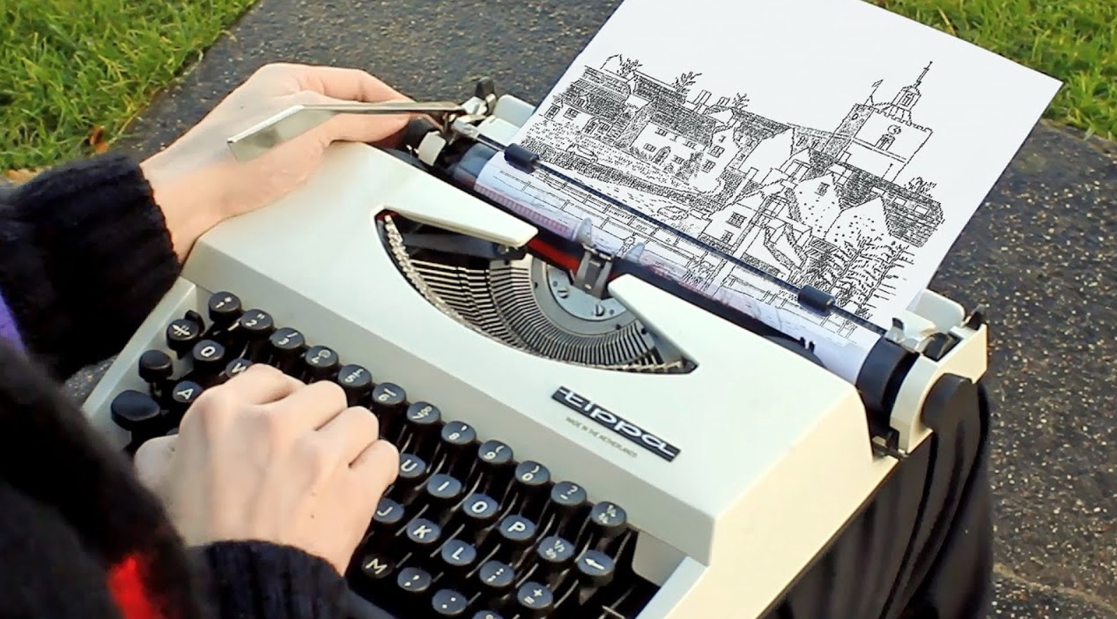 Watch This Artist Use A Typewriter To Beautifully Illustrate An English Countryside