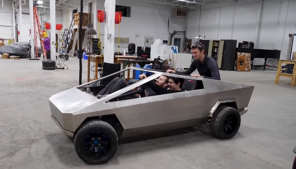 YouTube Engineers Build A Homemade Half-Sized Tesla Cybertruck And Take It Out For A Spin