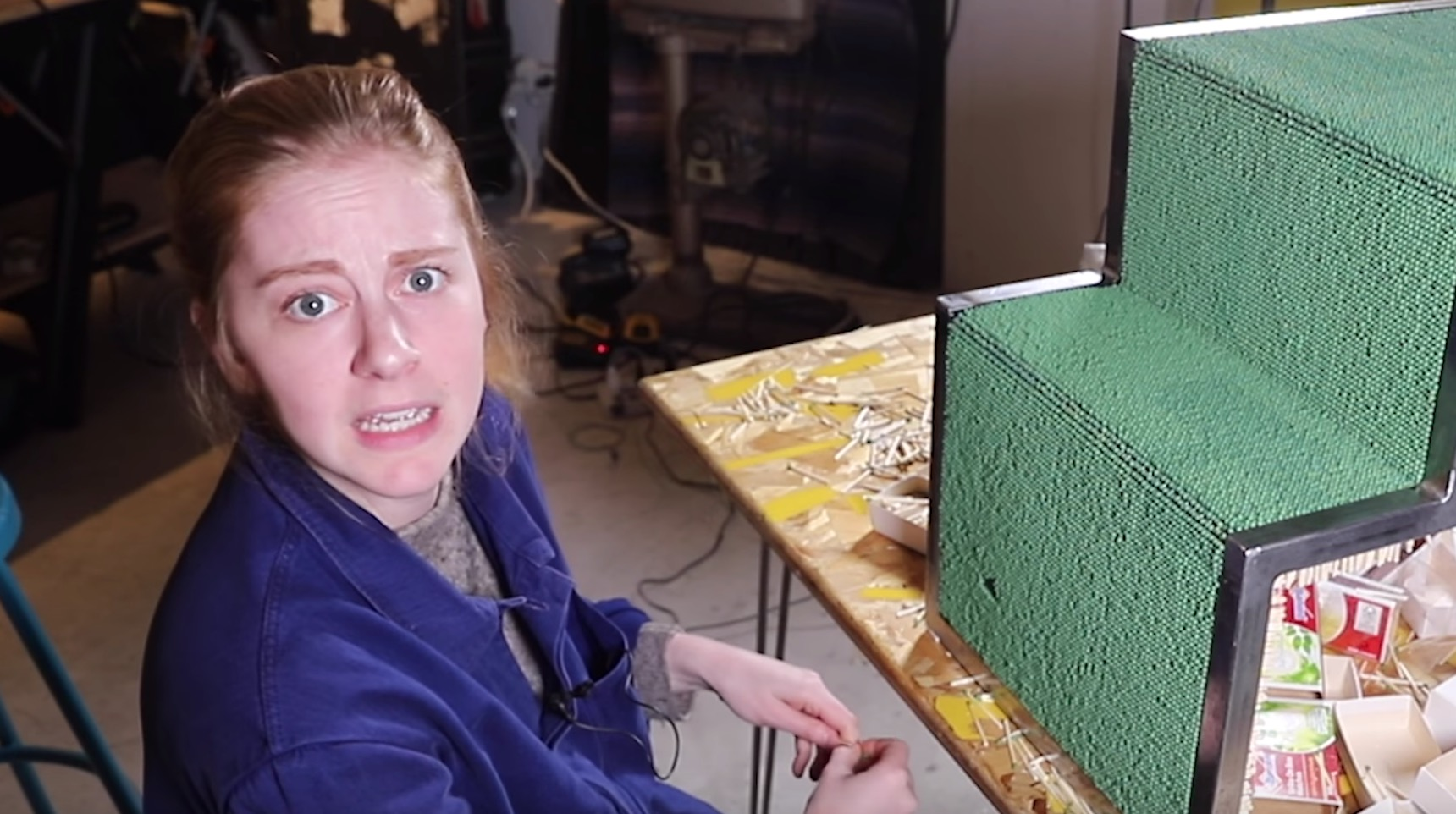 Simone Giertz Makes A Coffee Table Out Of 20,000 Matches, Sets It On Fire