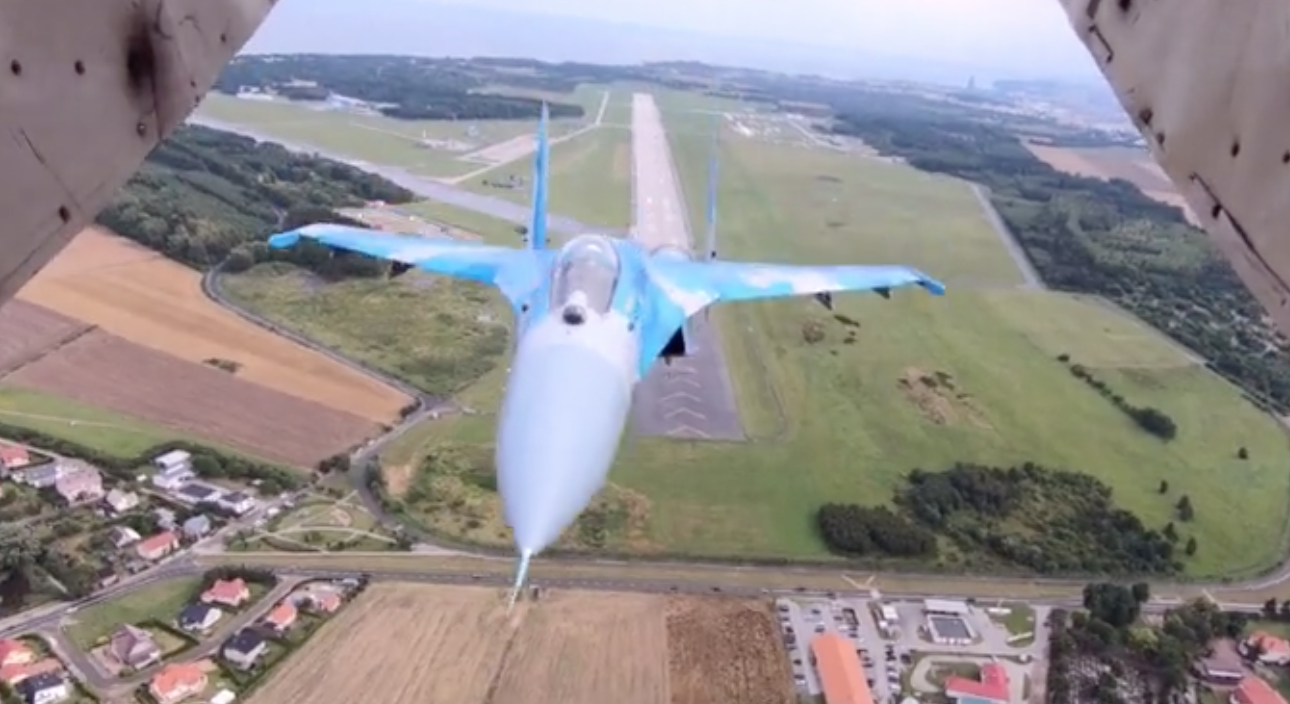 A Spectacular View Of An Ukranian Air Force Jet Flying Super Close To Another Plane
