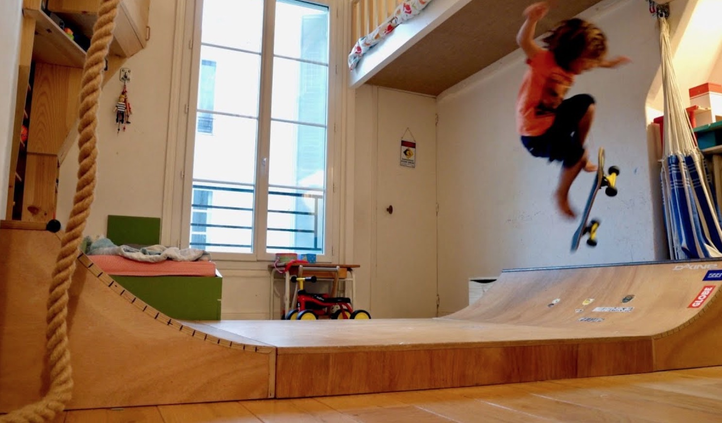 Man Builds A Skate Ramp And Climbing Wall Inside His Kid's Bedroom