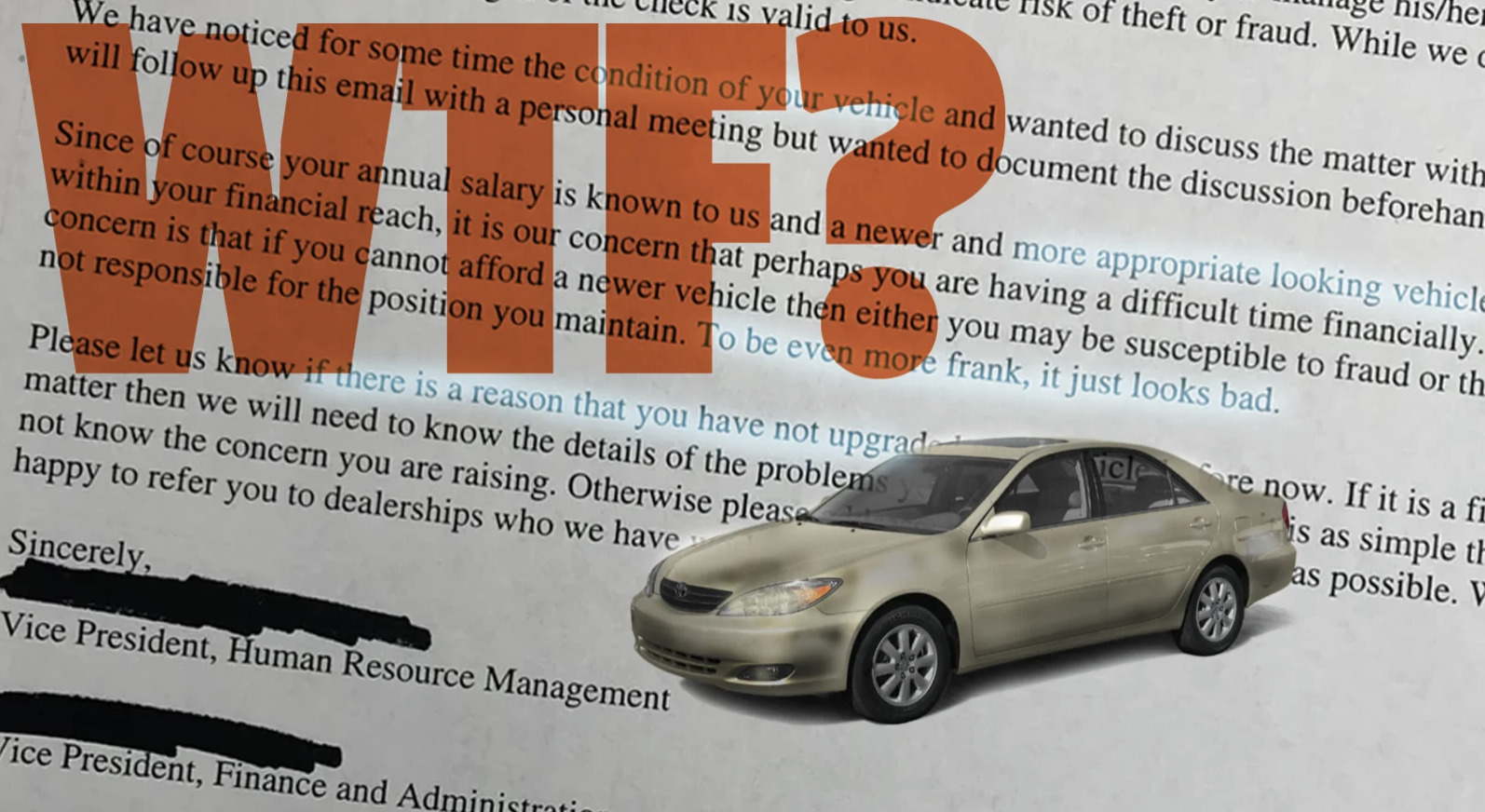That Awful Email About An Employee's Old Car May Not Be Real But I Still Cannot Abide