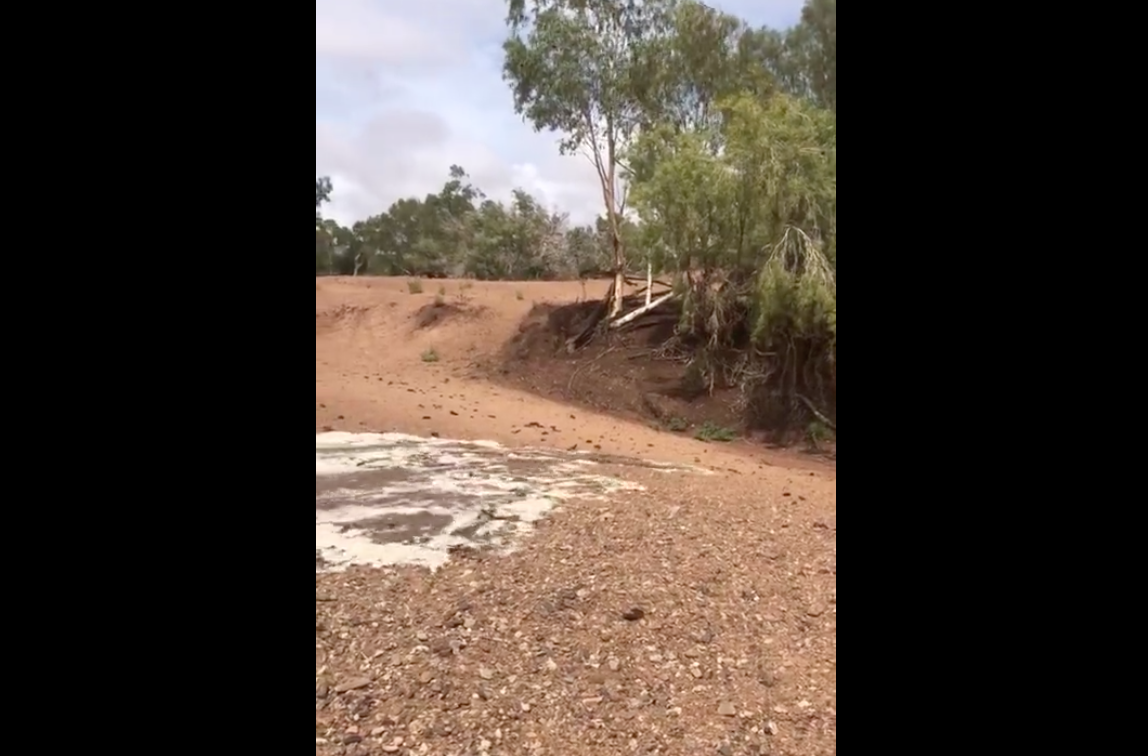 The Moment When A Dried Up River Restarts Again After Heavy Rain