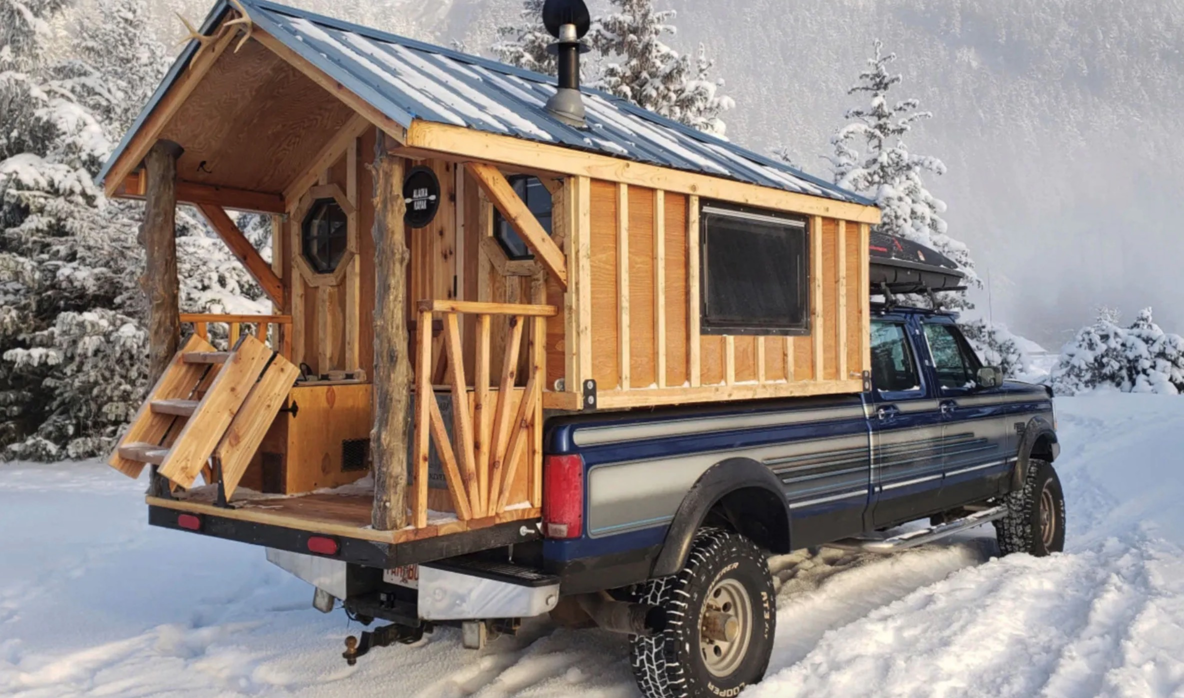 Alaskan Pioneer Builds Rolling Log Cabin On His Ford F-350