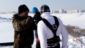 Bungee Jumper Forgets To Put On His Cord, Is Saved By The Snowy Ground