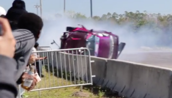 Drift Car Smashes Into Wall, Does A Whole 360-Degree Flip