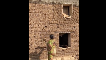 Woman Shows Impressively Accurate Aim Throwing Cow Dung On Wall