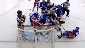 Brad Marchand Cross-Checks Rangers' Ryan Lindgren, Immediately Gets Cross-Checked Himself And Knocked Off His Feet