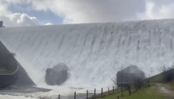 Excessive Rainfall Has Transformed This UK Dam Into A Gigantic Waterfall