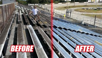 Guys Power Wash Bleachers At Abandoned Racetrack And It Is… Very, Very Satisfying