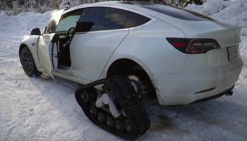 Guy Puts Tank Tracks On His Tesla To See How It Fares Off-Roading In The Snow