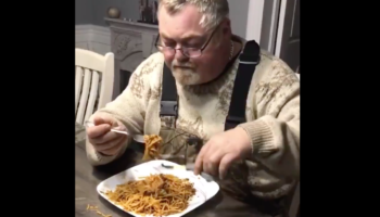 Man Comes Up With Ingenious Way To Eat Spaghetti With The Least Amount Of Effort