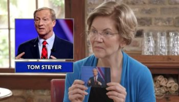 Elizabeth Warren Plays 'Name That Billionaire' With Stephen Colbert And The Clues For Tom Steyer Are Brutal