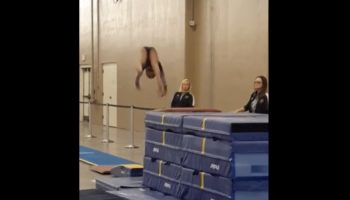 Coach Shows Off Super-Quick Reflexes To Save Gymnast From Dangerous Fall