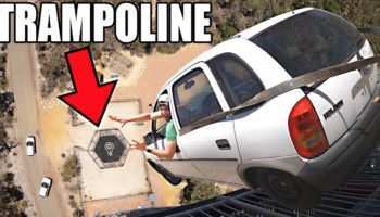 YouTubers Drop A Car Onto The World's Strongest Trampoline From 150 Feet