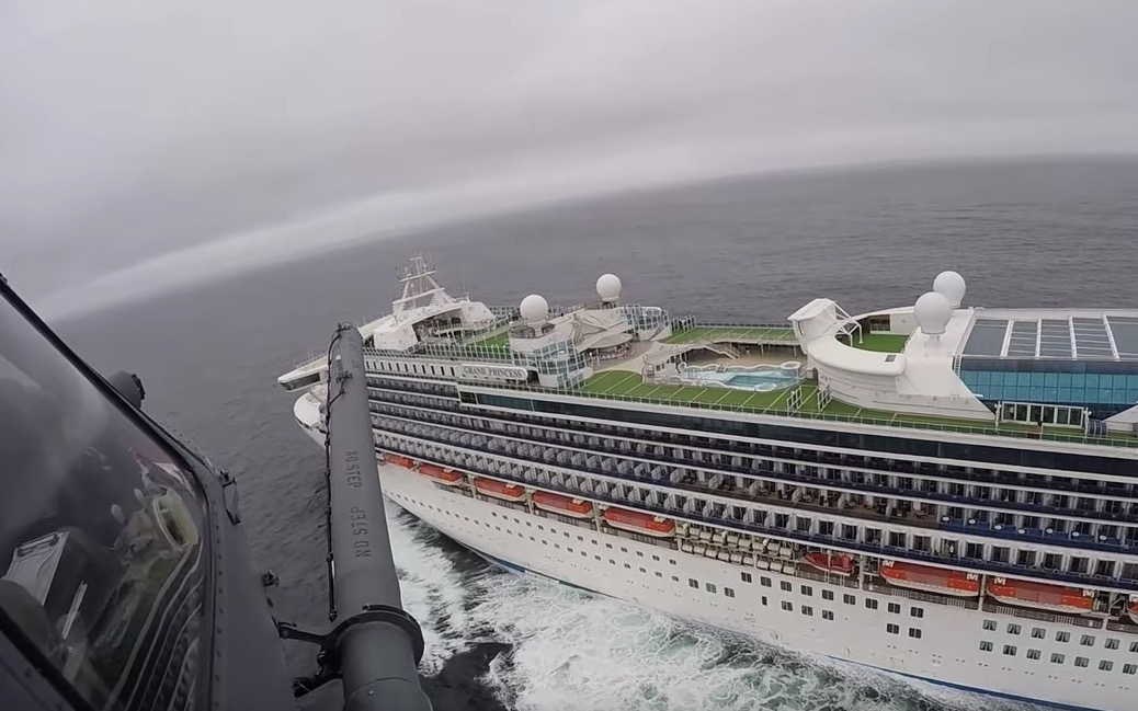 Watch A California National Guard Helicopter Deliver Coronavirus Testing Kits To Quarantined Cruise Ship