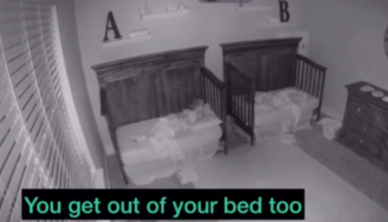 Indoor Security Camera Captures 3-Year-Old Twins Figuring How To Handle A Thunderstorm In The Most Adorable Way