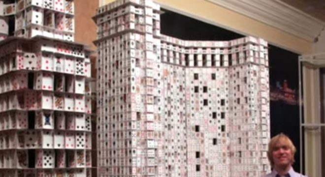 Watch This Professional Card Stacker Build Impossibly High Skyscrapers Out Of Playing Cards