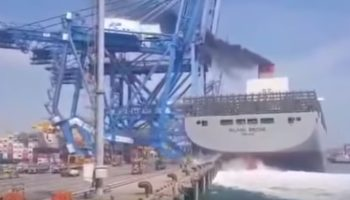 Insane Footage Of A Huge Containership Demolishing A Port Crane