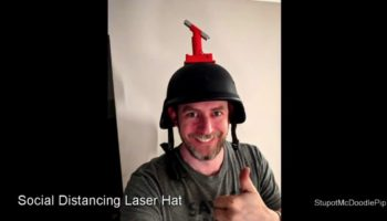 Engineer Builds Brilliant Social Distancing Laser Helmet To Ensure He's A Safe Length Away From Others