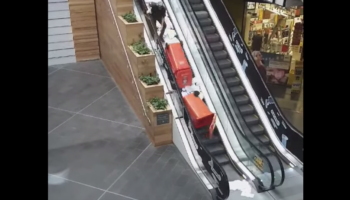 Worker Tries To Take Two Full Garbage Bins Up An Escalator, Really Regrets It