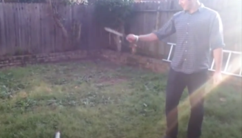 Guy Makes The Very Bad Decision To Throw A Knife Into A Spray Paint Can