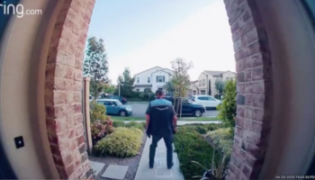 Security Camera Captures Amazon Delivery Person Joyously Jumping Hop Scotch After He Delivers A Package