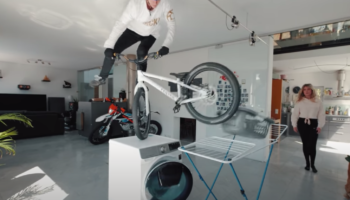 Pro Bike Rider Contending With Lockdown Comes Up With Creatively Insane Bike Stunts In The House