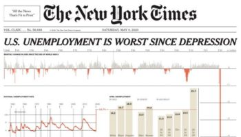 The New York Times Demonstrates The Magnitude Of Unemployment In The United States With An Off-The-Charts Graphic On Front Page