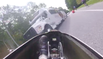Man Crashes In His Recumbent Bike, Nearly Slides Underneath Bus