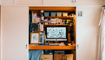 Japanese Photographer Turns His Closet Into Charming Work-From-Home Space