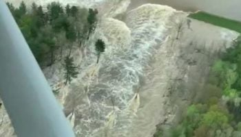 Here's An Aerial View Of The Catastrophic Dam Failure Over Wixom Lake, Michigan