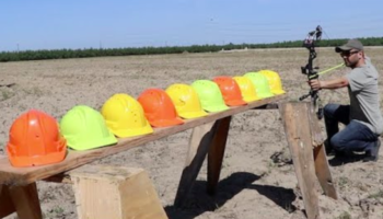 Guy Tests Out How Many Hard Hats An Arrow Can Go Through