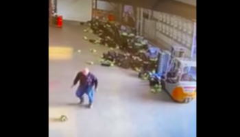 Farmer Throws A Temper Tantrum After Setting Off Domino Effect With Forklift