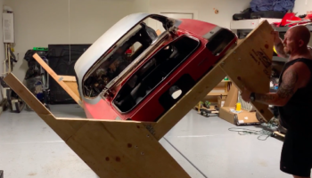 Man Creates An Ingenious Contraption To Flip His Car Over For Repairs, Is Very Pleased When It Actually Works