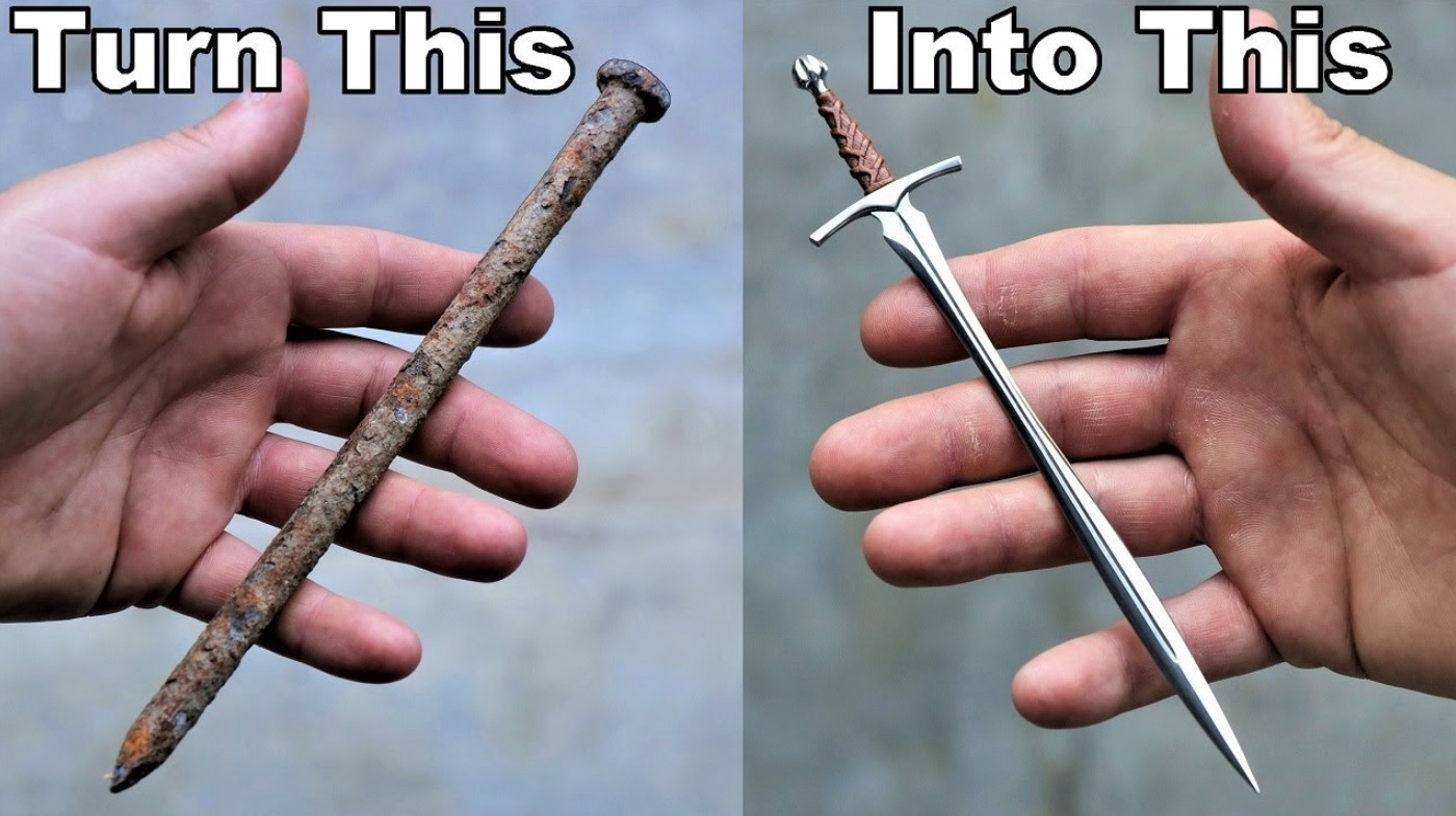 Extremely Impressive Craftsman Transforms A Rusty Nail Into A Medieval Sword