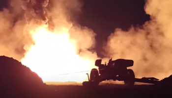 The Russian Military Fires An Anti-Tank Gun To Put Out Oil Well Fire