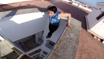 Parkour Pro Makes Some Insane Dips Over A 130-Foot Ledge