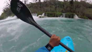 Kayaker Goes Down Waterfall… And Then Just Gets Stuck There