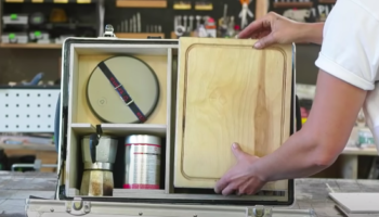Woman Cleverly Makes A Tiny Kitchen Out Of A Suitcase