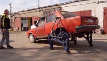 Russian Mechanics Make A Car Walk With Steel Legs