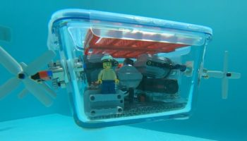 Mad Genius Makes A LEGO-Powered Submarine Out Of A Food Container