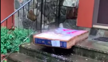 Guy Gets His New TV Delivered In Sopping Wet Conditions