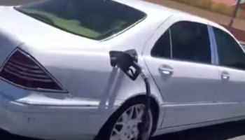 Driver Pulls Out Of A Gas Station Too Hastily, Takes Gas Pump Hose With Them