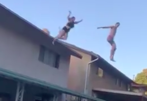 Two People Jump Off A Roof At A July 4 Pool Party. One Leap Ends In Total Chaos