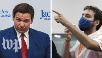 Florida Governor Ron DeSantis Heckled For Coronavirus Response During Press Conference
