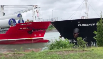 Watch Two Large Boats Crash Straight Into Each Other In A Canal